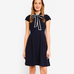 NWT Jcrew Navy Neck tie crepe dress 00